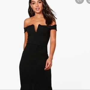 Boohoo Off The Shoulder Jersey Dress